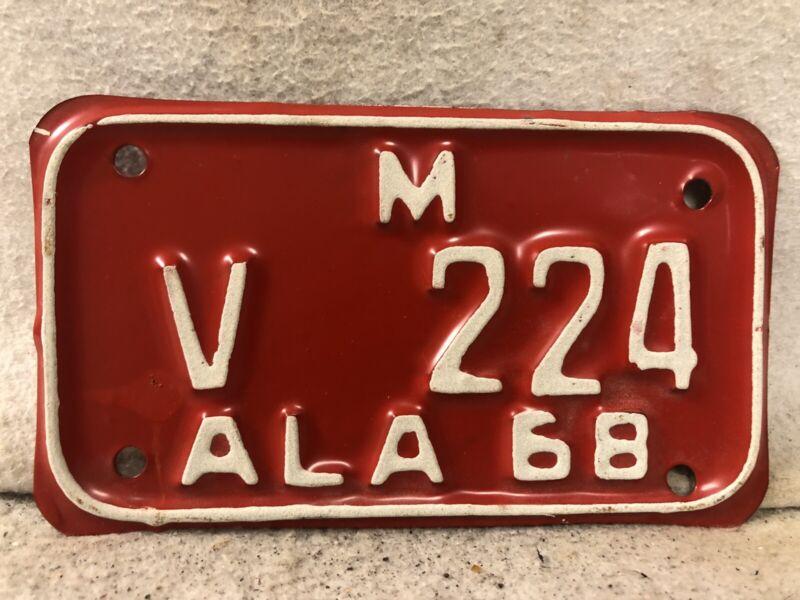 Vintage 1968 Alabama Motorcycle License Plate