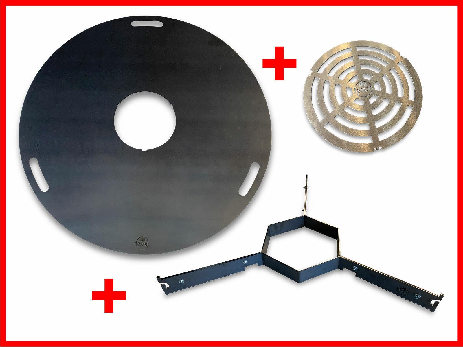 Komplett Set Feuerplatte 80 o. 100cm + VA Grilleinsatz + Abstandshalter Plancha