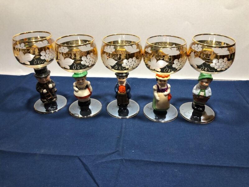 Vintage Goebel Hummel Set of 5 Figurine Stem Wine Glasses Gold Etched Germany