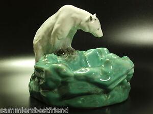 Art Deco Keramik DITMAR URBACH Zigarrenascher Eisbär German POTTERY Polar Bear !