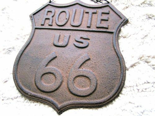 Cast Iron Route 66 sign plaque with chain