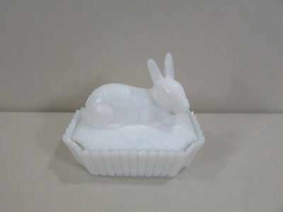 Westmoreland Milk Glass Rabbit with Picket Fence Base Covered Dish Box