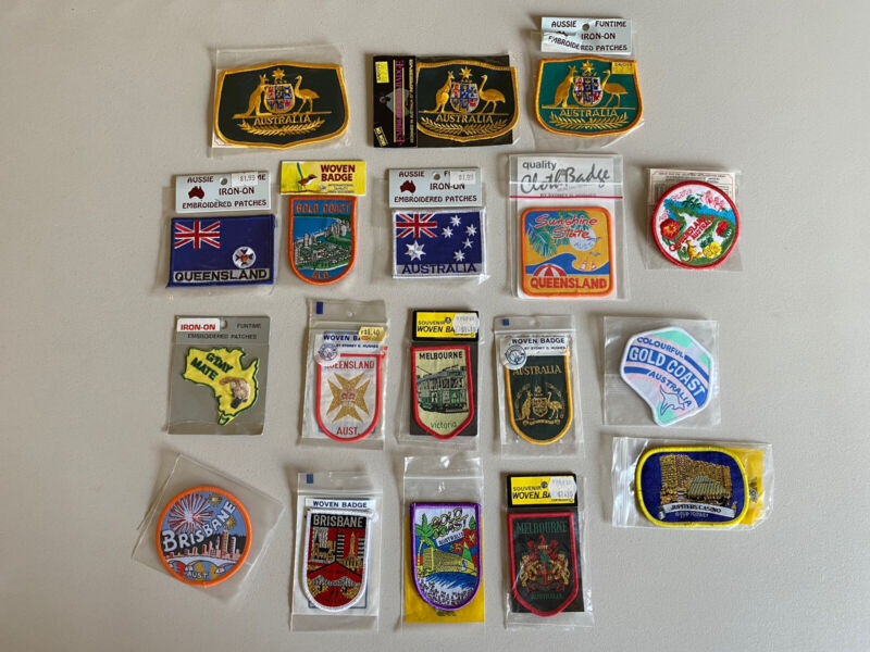 Vintage Lot 18 Australian Souvenir Sew On Embroidered Patches Collection