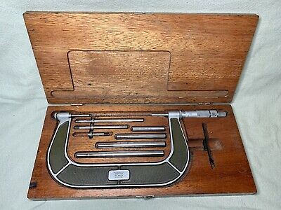 Vintage Lufkin Rule Co. Micrometer No. 846a 2 To 6 In. In Wood Case