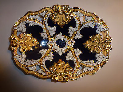 STUNNING Large Meissen Heavily Gilded Reticulated Cobalt Centerpiece Bowl