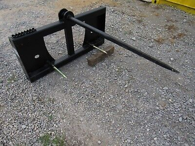 Quick Tach Tractor Loader Skid Steer Hay Bale Spear Fork Attachment - Ship 149