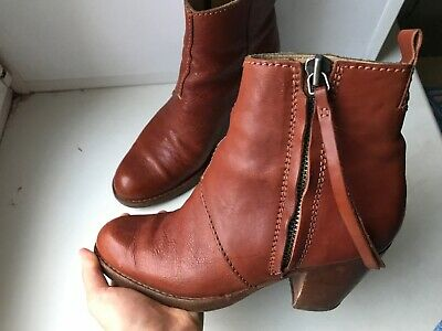 ACNE Studios Pistol Boots Brown Leather Ankle Size 37 Italy