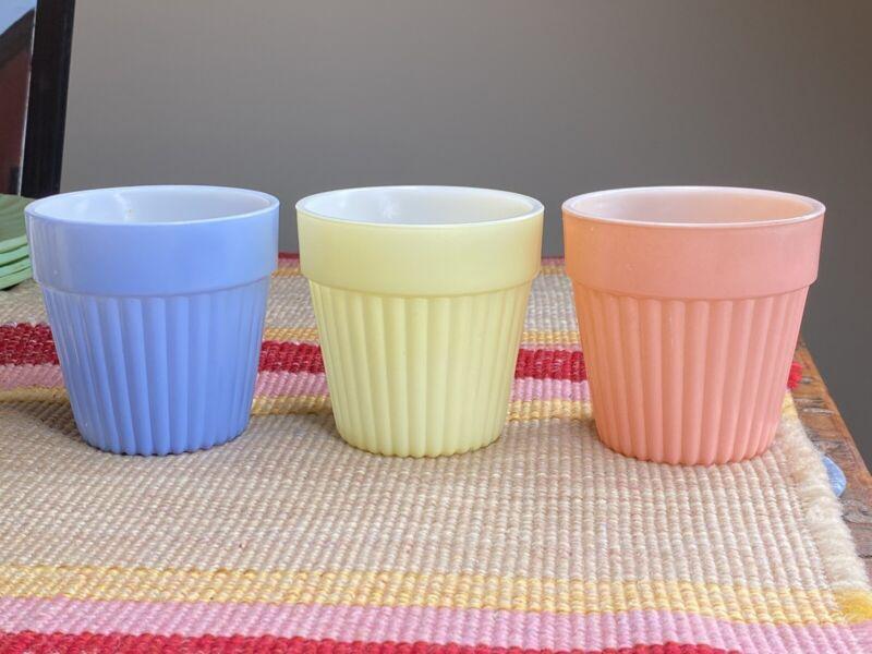 3 Hazel Atlas Fired on Pastel Color Ribbed Flower Pots