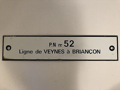 Authentic Old Enameled Metal French SNCF Train Route Sign Veynes to Briancon