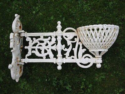 Gusseisen Ausleger im Antikstil Blumenkorb Pergola rosti chabby weiß 10 Kg 60 cm