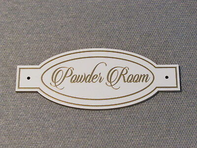 POWDER ROOM Wood Bathroom Door Sign Plaque Restroom Gold Letters (Antique Powder Room Sign)