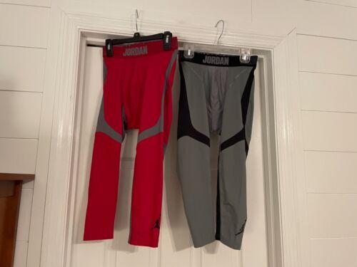 Lot of 2 Air Jordan Boys Athletic 3/4 Compression Leggings Size Youth Medium