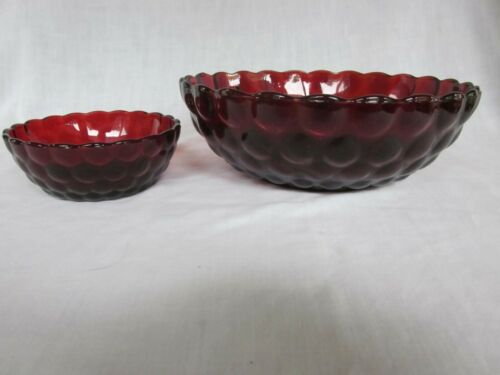 Anchor Hocking Bubble Ruby Red large fruit bowl & small berry bowl