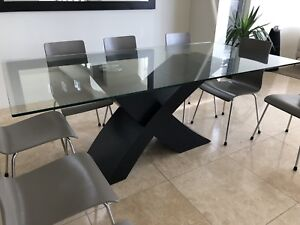 Glass Dining Table Used Designer For Sale