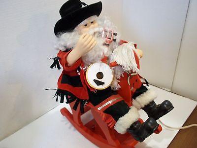 Telco Motionette Musical Santa on Rocking Horse Black Hat Variation RARE! Large
