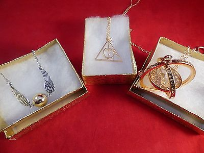 Harry Potter Time Turner+Golden Snitch Wing Bracelet+Deathly Hallows GOLD Charm