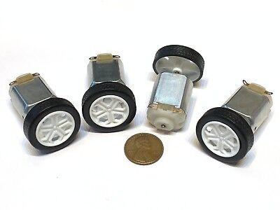 4 Pieces White 130 Motor 26mm Diameter Rubber Car Robot Tire Wheel Dc Motor C16