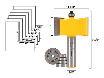 Rabbet Router Bit & Bearing Set - 1/2