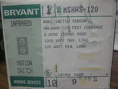 New Bryant Infrared Motion Switch Cat No. Mshws-120.......mm-769
