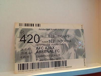 Football Ticket - UEFA - AFC Ajax - Arsenal FC - Champions League 2003
