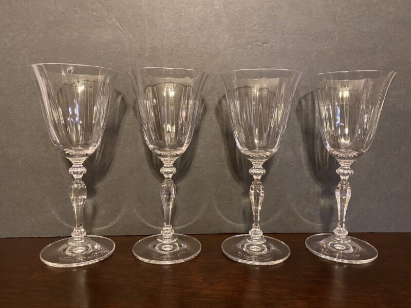 Set of 4 Elegant Vintage Wine Glasses Goblets  7 1/2""