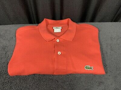 LACOSTE 🐊 Mens Coral/Red Polo Shirt Short Sleeve Euro Size 7