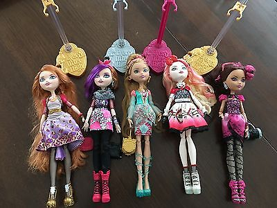 Lot Of 5 Ever After High Dolls, With Clothes And Stands