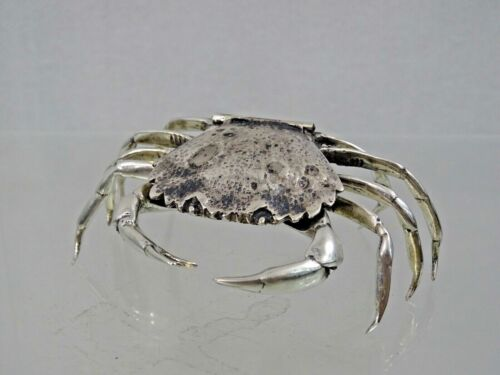 FINE QUALITY 800 SILVER CRAB table top SNUFF PILL BOX Nautical Figural sterling