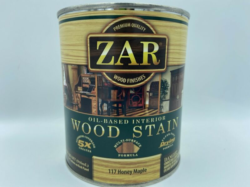 Quart Can ZAR 117 HONEY MAPLE Oil Based Interior Wood Stain 11712 (Discontinued)