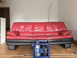 Red Leather Couch - Pickup in Sydenham Sydenham Marrickville Area Preview