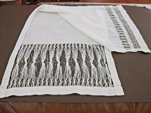 Amazing Antique Vintage White Table runner dresser scarf Hand Drawnwork Flax