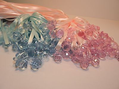 48X Pacifier Necklaces  Baby Shower Game  Decorations pink or blue ](Blue Baby Game)