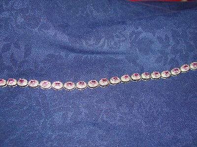 14k Pink Sapphire Bracelet - 14K White Gold Pink Sapphire & Diamnd Bracelet Estate sale
