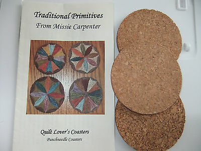 Traditional  Primitives Punchneedle Pattern ~ Quilt Lover's Coasters