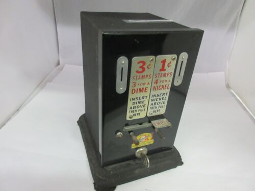 VINTAGE SCHERMACK STAMP VENDING MACHINE COUNTER DISPLAY ADVERTISING   468-S