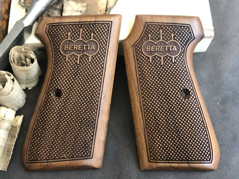 Beretta 1934/1935 7.65mm 32 ACP Turkish Walnut Wood Grips. Handmade. Checkered A
