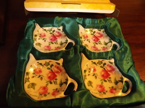 Vintage Formalities by Baum Brothers 4 pc Teabag Caddies/Spoon Rest w/Box Roses