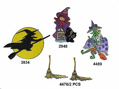Witch On Broom (Halloween,Witch,Witches Broom Embroidery Iron On Applique)