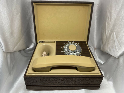 WORKS! Vintage PHONE IN A BOX Rotary Dial Desk Landline Cord Wood Carved Look