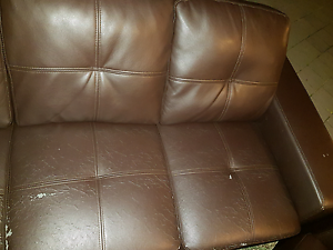 Brown leather sofa set Balga Stirling Area Preview