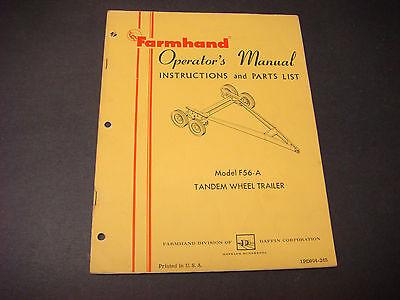 Farmhand Operator Manualinstruction List Model F56-a Tandem Wheel Trailer M6193
