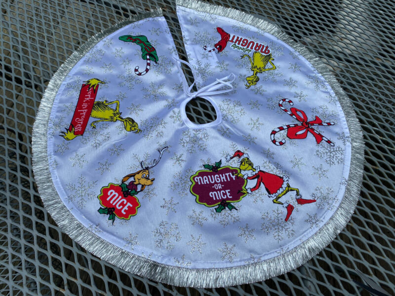 """GRINCH Christmas Tree Skirt 18"""" Hand-Crafted"""