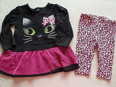 NEW nwt baby girls CAT OUTFIT halloween costume TUTU LEGGINGS leopard 6-9 MONTHS