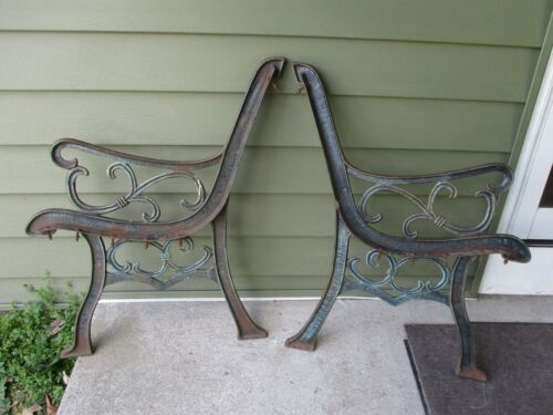 1 Pair Cast Iron Bench Legs Sides - Decorative Design - PICKUP ONLY
