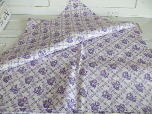 Vintage  Fabric White Lavender  Flowers German Cotton  50 inch by 2 Yards Unused