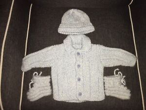 Hand knit infant/ 0-3 month boy outfit