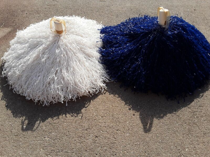Very Large Vintage Blue and White Cheerleader pom poms