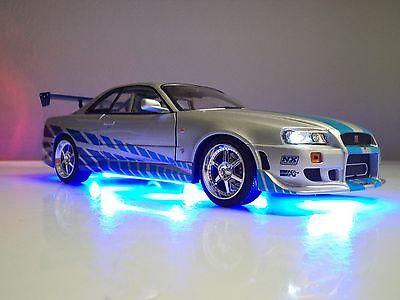 Paul Walker 1/18 Nissan Skyline Brian's GT-R R34 Fast & Furious LED Light Ut RaR