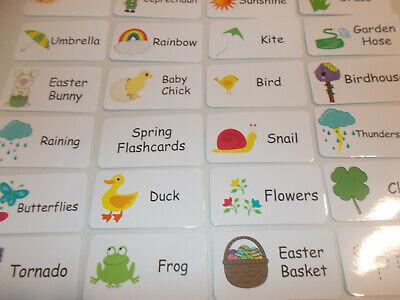 Spring Season theme Preschool Picture and Word Flash Cards.  Laminated - Seasonal Themes