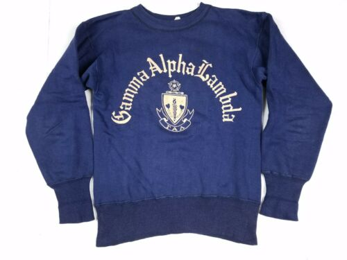 Vtg 50s Champion Running Man Gamma Alpha Lambda Christian Sorority Sweatshirt S